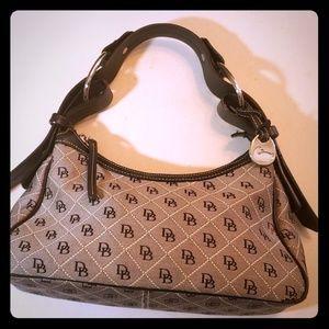 VGUC gray and black logo purse